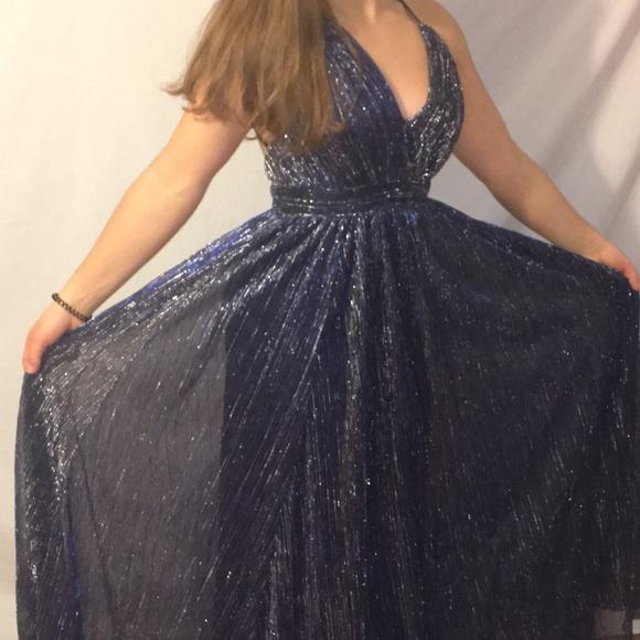 3ec460cc2d79 LUX-LD4206 Dresses   Skirts - Long Navy Blue Metallic Crepe V-Neck Prom